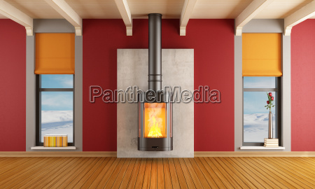 fireplace in a house in the