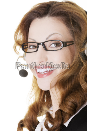 beautiful call center assistant smiling
