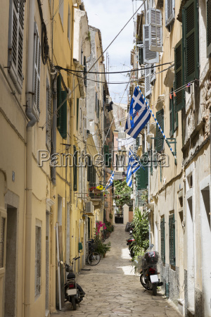 picturesque alley in corfu greece