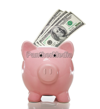 pink piggy bank with hundred dollar