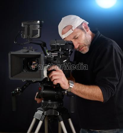 cameraman working with a cinema camera