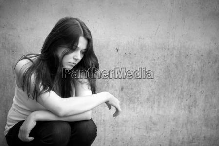 portrait of a pensive sad girl