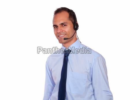 attractive man using headphone with microphone