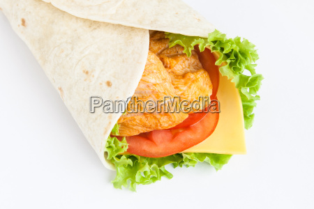 roll from lavash with chicken cheese