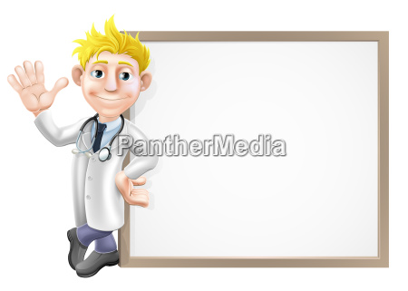 cartoon doctor and sign
