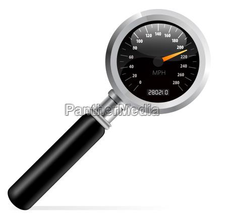 speedometer in magnifier