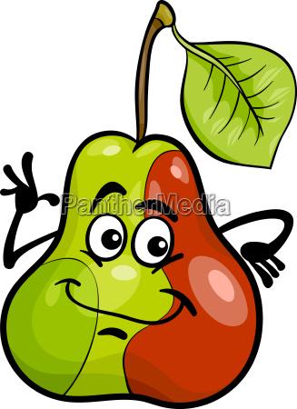funny pear fruit cartoon illustration