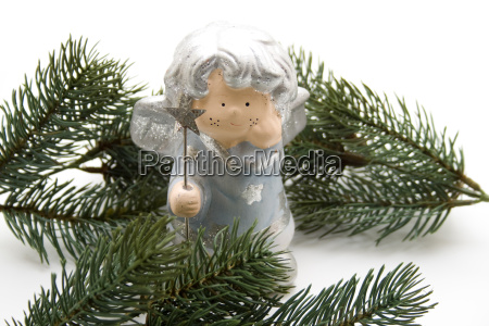christmas angel with fir branches