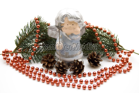 christmas angel with pearl necklace