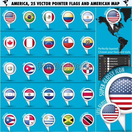iconos de la bandera de america