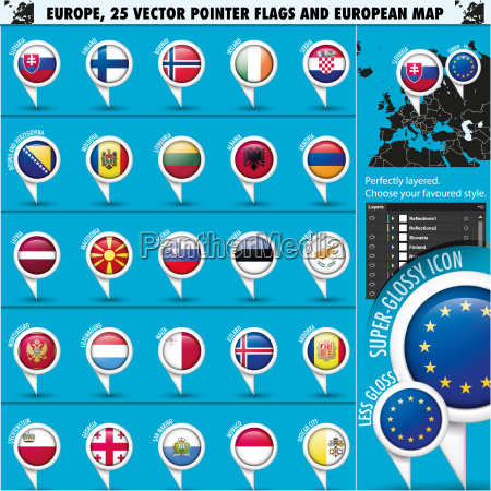 european icons round indicator flags and
