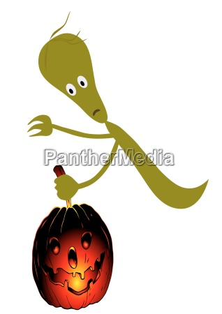 ghost and pumpkin vector