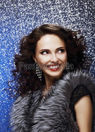 sparkle beautiful fashion model with shiny