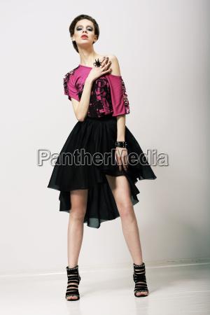 tendency glamorous fashion model in modern