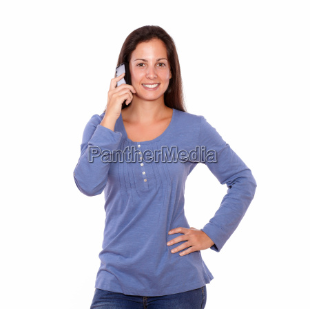 pretty lady talking on cellphone while