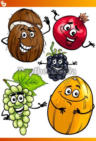 funny fruits cartoon illustration set