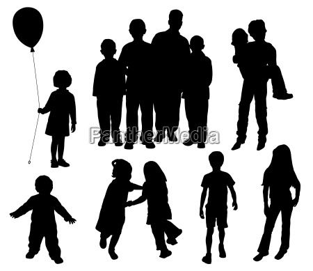 children silhouettes vector eps