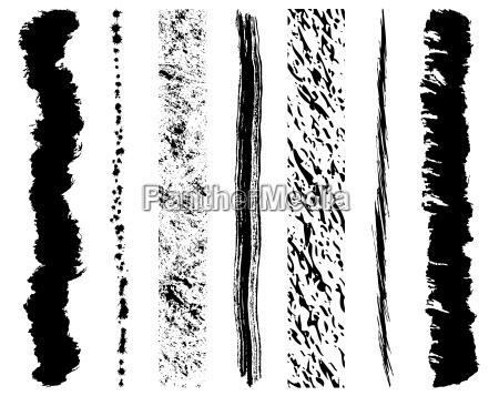 set of grunge ink brush strokes