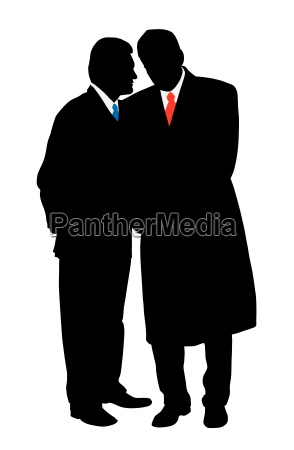 two businessmen discreet conversation telling a