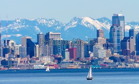 seattle skyline sailboats puget sound cascade