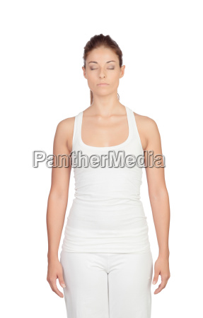 attractive woman meditating concentrated isolated