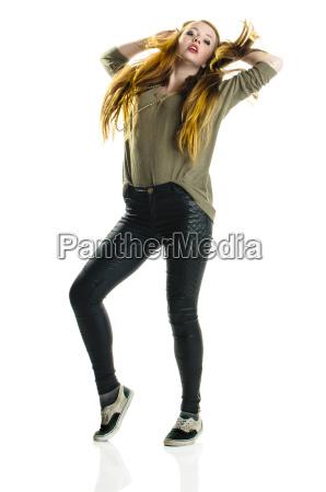redhead girl dancing hip hop