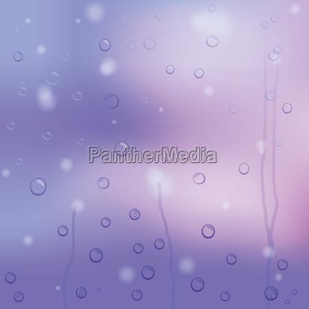 vector raindrops on purple glass