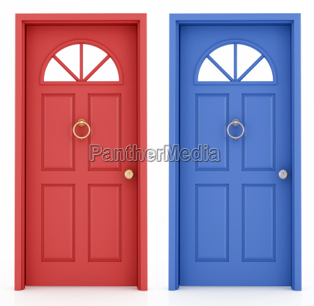 red and blue entrance door