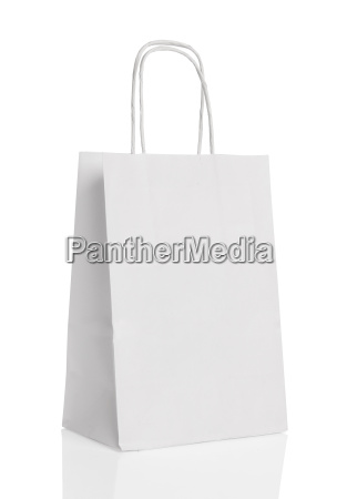 white paper shopping bag isolated with