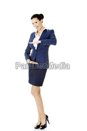 happy young business woman showing rounding
