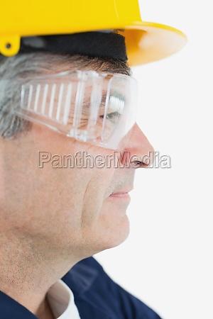 technician wearing protective eye wear and