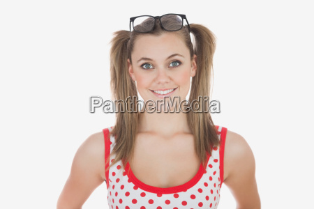 young woman with long ponytails