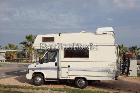 small european mobile home at a