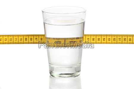 glass of water and a measuring