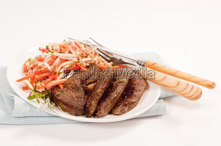 fried liver on a plate served