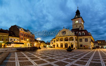 brasov council square at twilight
