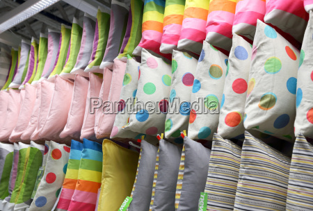rows of decorative pillows