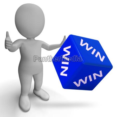 win dice showing success winner succeed