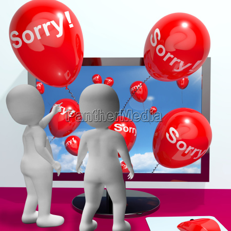 sorry balloons from computer showing online