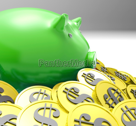 piggybank surrounded in coins shows american