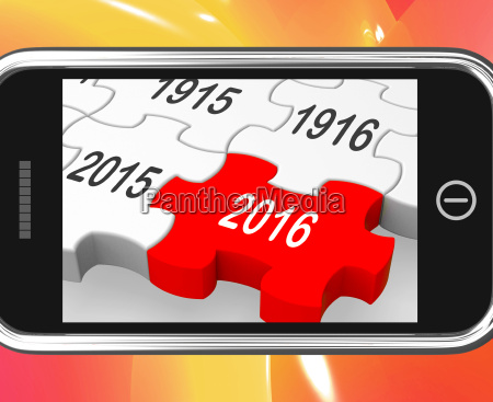 2016 on smartphone showing future visions