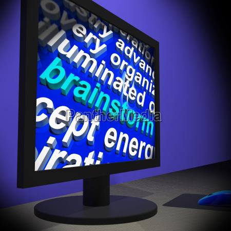 brainstorm on monitor shows creative ideas