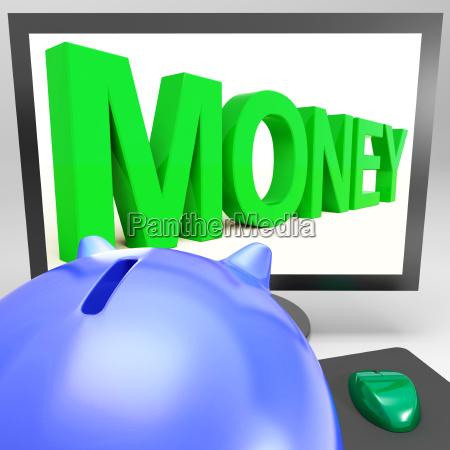 money on monitor showing prosperity
