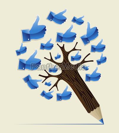 thumb up ok concept pencil tree