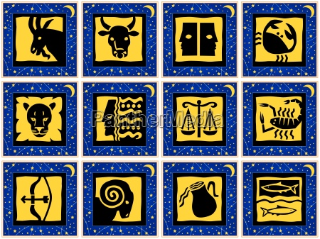 squares with signs of the zodiac