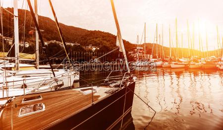 yacht harbor on sunset