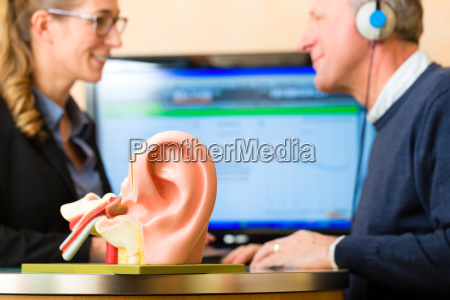 hearing impaired man doing a hearing
