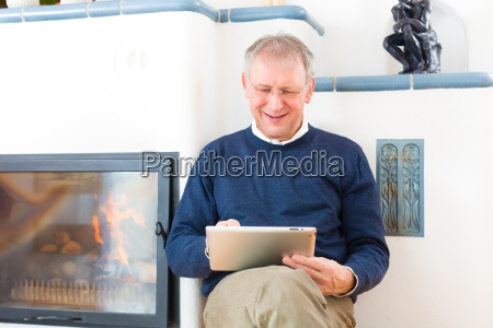 pensioners at home in front of