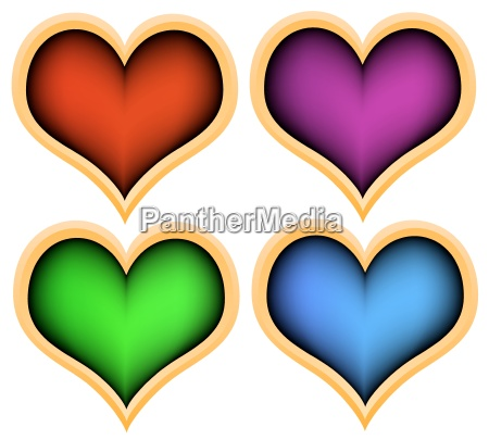 colored plastic heart with a gold