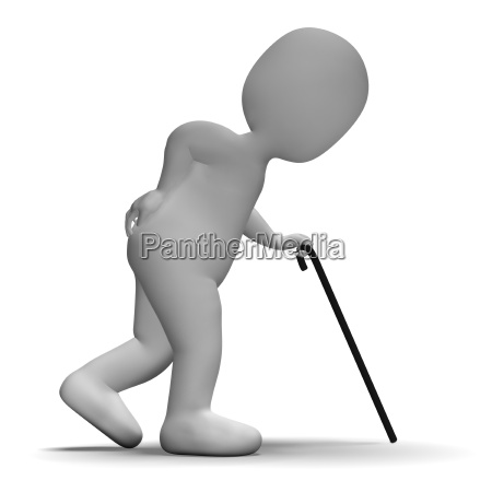 old man with walking stick showing